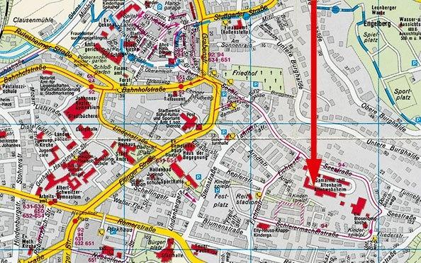 Ausschnitt aus dem Stadtplan (mit freundlicher Genehmigung des Städteverlags Fellbach)