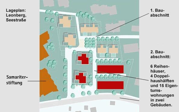 Lageplan des ersten und zweiten Bauabschnitts